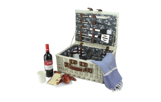 Woven White Willow Picnic Basket Set