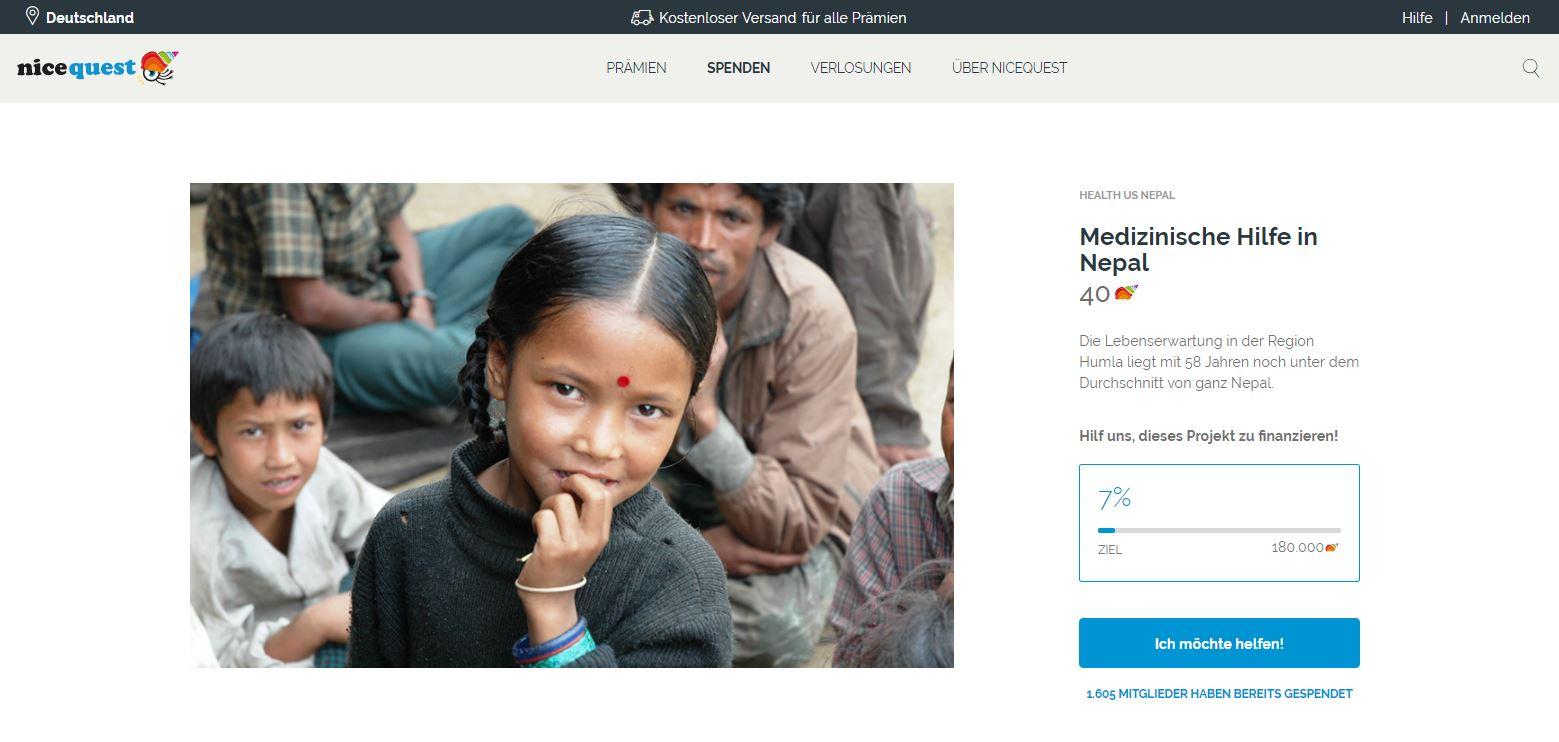 Spendenkampagne für Health Us Nepal mit Nicequest.