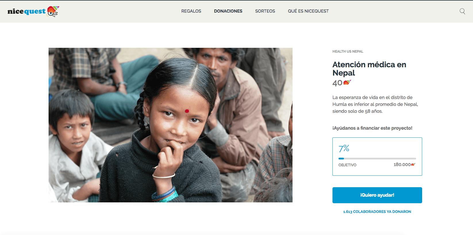 Campaña de donación para Health us Nepal con Nicequest