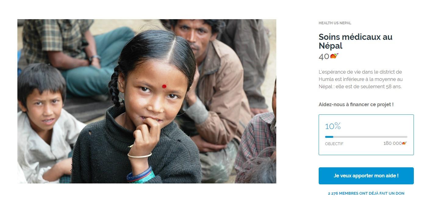 Page de dons sur le site Nicequest