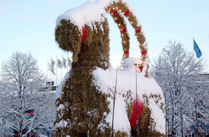 Holiday tradition in Sweden: Gaevle goat