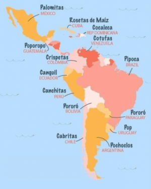 Cómo llaman a las palomitas de maíz en toda latinoamérica