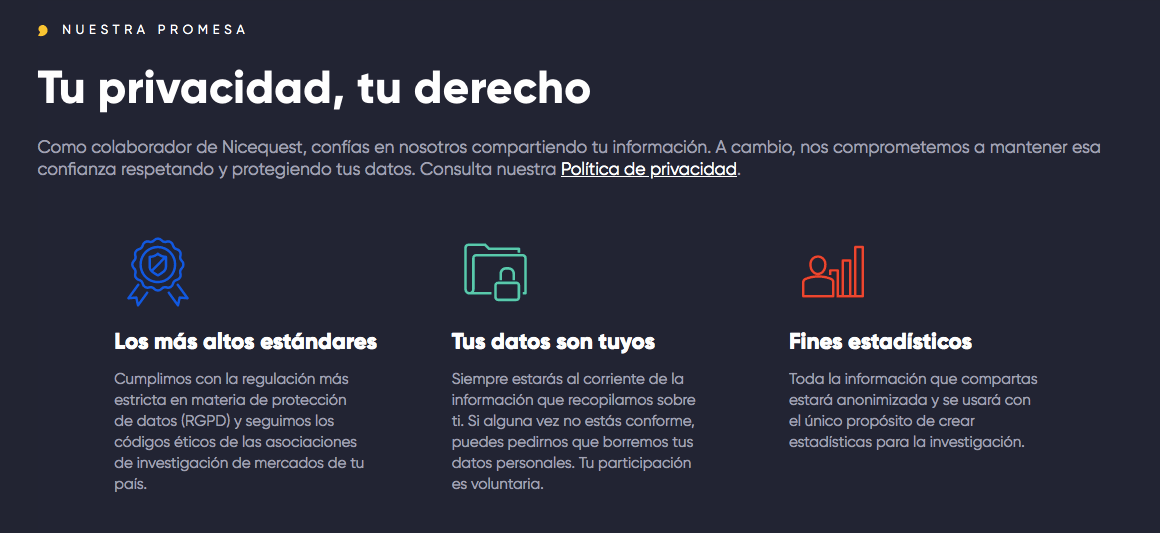 """En nuestra página de """"Quién somos"""" exponemos nuestra promesa de proteger tus datos."""